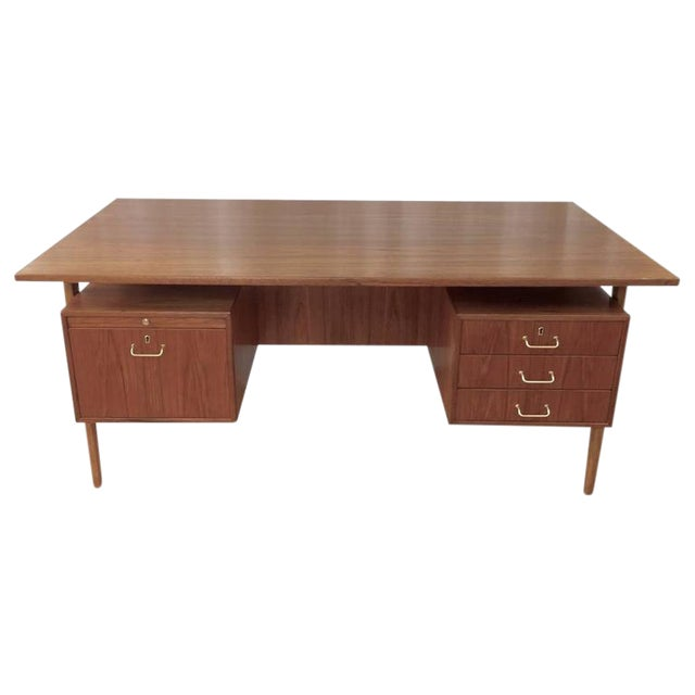 Teak & Oak Floating Top Executive Desk For Sale