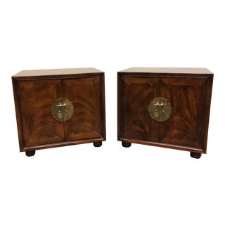 Henredon Pan Asian Walnut Chinoiserie Nightstands / Bedside Cabinets For Sale