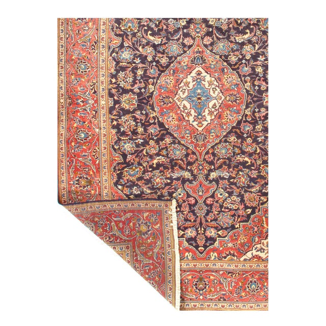 1950s 1950s Vintage Kashan Hand-Knotted Rug-6′9'x10′2″ For Sale - Image 5 of 6