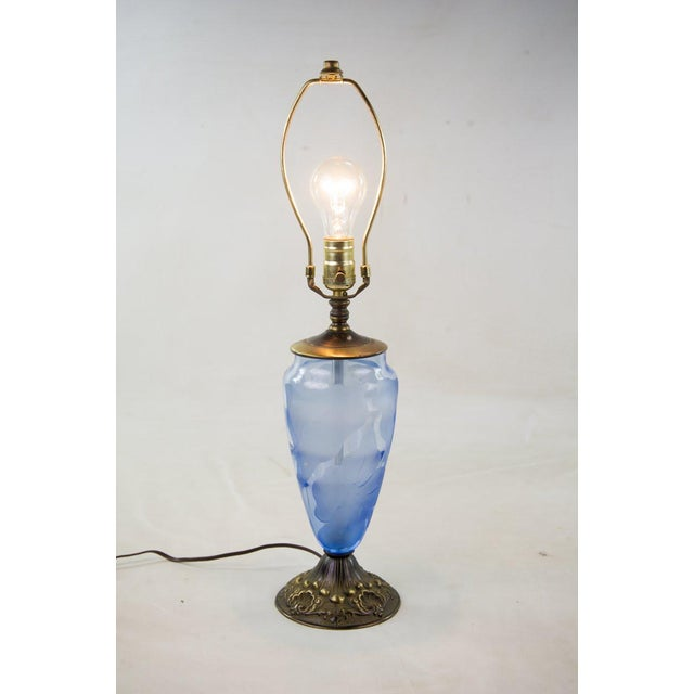 Vintage 19th Century Etched Glass Table Lamps - A Pair For Sale - Image 5 of 7