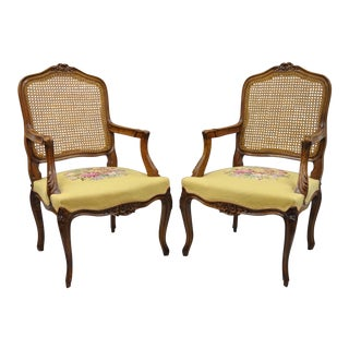French Country Louis XV Style Cane Back Chairs Needlepoint Armchairs - a Pair For Sale