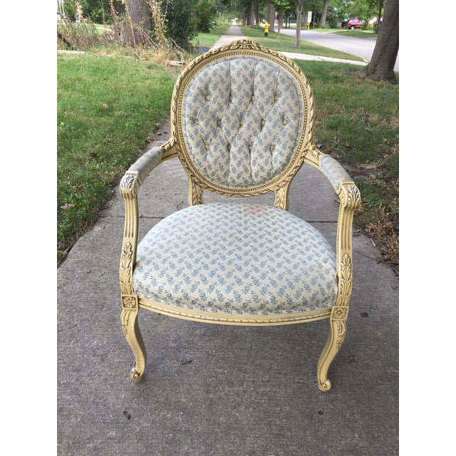 1940s Vintage Upholstered Armchair For Sale - Image 4 of 9