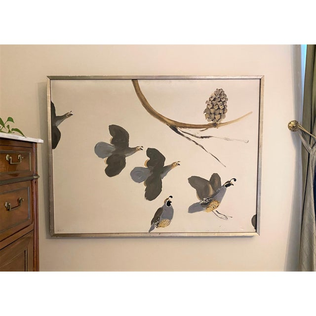 Slate Gray 1965 Valley Quail California Wildlife Oil Painting by Bryan Wilson, Framed For Sale - Image 8 of 12