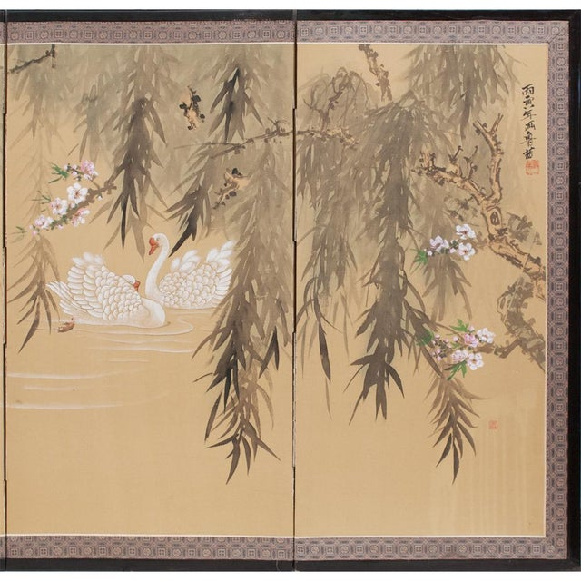 C. 1940s Chinoiserie Swan Screen For Sale - Image 4 of 13