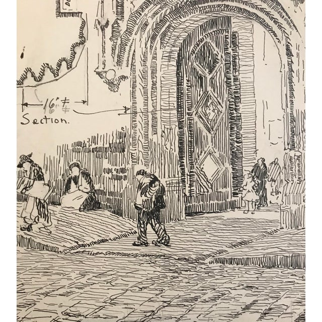 Ink of a working drawing of the entrance of a European building from the estate of artist Earl McKinney. Made in the 1920s.