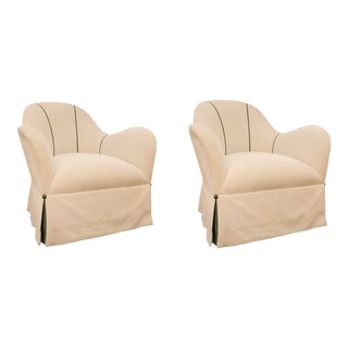 Caracole Modern White Linen Blend Swivel Club Chairs Pair For Sale