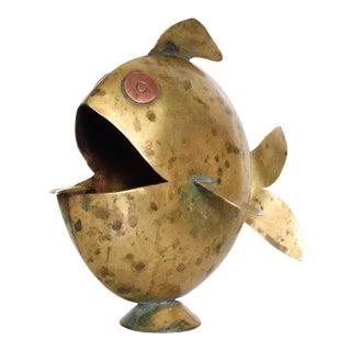 Mid Century Mexican Modernist Fish Brass Ashtray, Castillo Era For Sale
