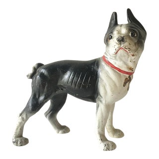 A Painted Cast Iron French Bull Dog Door Stop For Sale