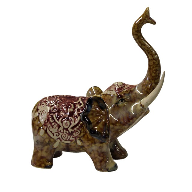 Brown Ceramic Elephant Figure For Sale
