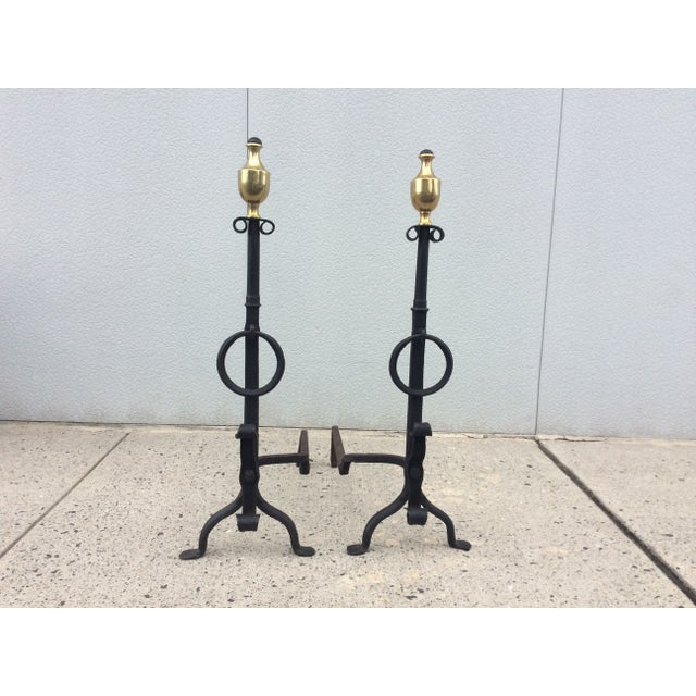 1800s Brass & Iron Andirons - A Pair - Image 2 of 8