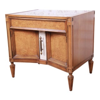 Romweber Mid-Century Hollywood Regency Nightstand in Burl Wood, Travertine, and Brass For Sale
