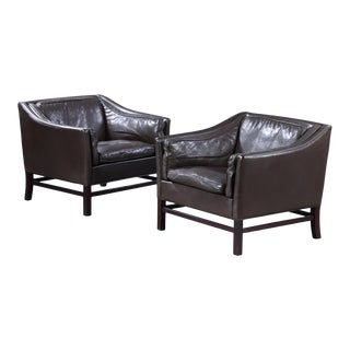 Leather Arm Chairs by Grant Møbelfabrik - a Pair For Sale