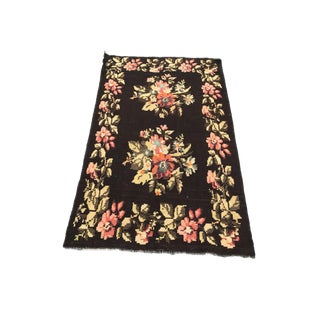 Floral Bessarabian Pattern Rug on a Rich Black Background For Sale