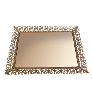 1950s Mid-Century Modern Framed Filigree Mirror Tray For Sale