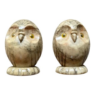 Carved Alabaster Owl Bookends - A Pair For Sale