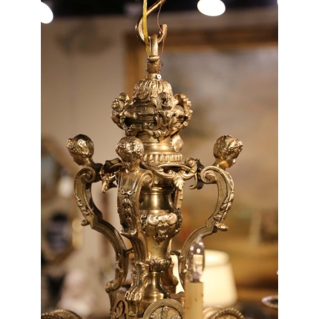 19th Century French Louis XV Patinated Bronze Dore Eight-Light Chandelier For Sale In Dallas - Image 6 of 12