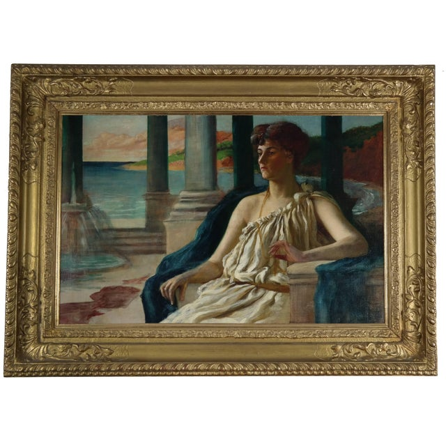 Neoclassical 19th Century Oil on Canvas, Classical Lady For Sale - Image 3 of 3