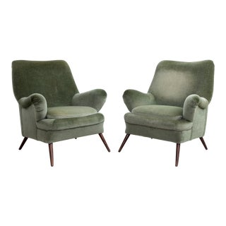 Pair of Large Sculptural 1950s Lounge Chair in Green Mohair Fabric