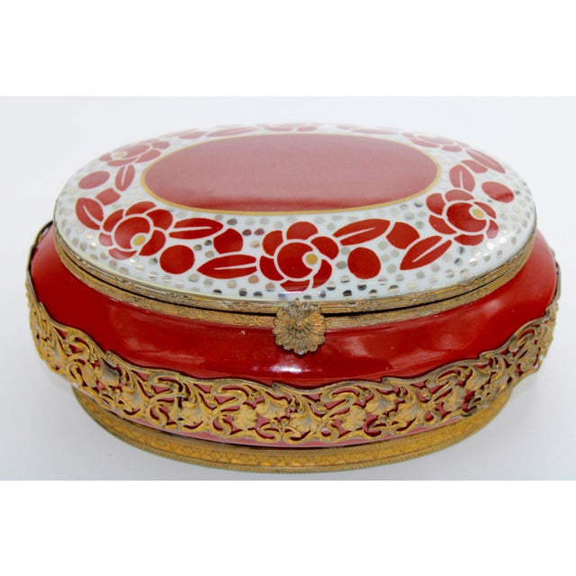 Metal Extra Large Porcelain French Hinged Jewelry Box For Sale - Image 7 of 7