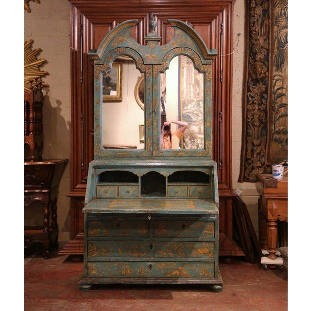 Wood 18th Century Italian Hand Painted Secretary Bookcase With Chinoiserie Decor For Sale - Image 7 of 12