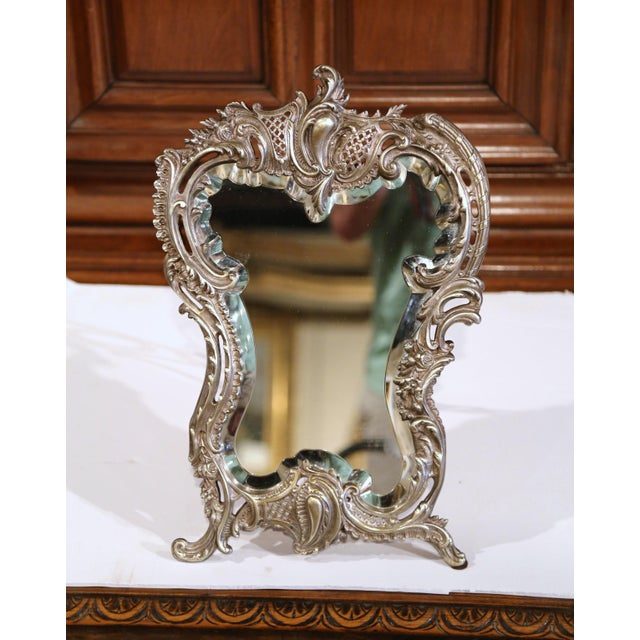 Gold 19th Century French Louis XV Silvered Bronze Free Standing Vanity Table Mirror For Sale - Image 8 of 8
