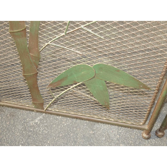 Vintage French Country Black Fireplace Screen with Bamboo Leaves Limbs For Sale - Image 9 of 12