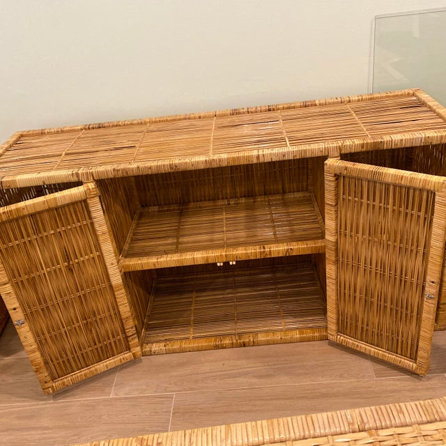 Vintage Palm Beach Boho Chic Wicker Rattan Shelving Unit For Sale - Image 9 of 12