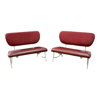 1990s Mid-Century Modern Jordan Mozer Red Leather Loveseats - a Pair