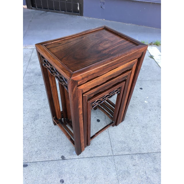20th Century Chinese Rosewood Nesting Tables - Set of 4 For Sale - Image 4 of 12