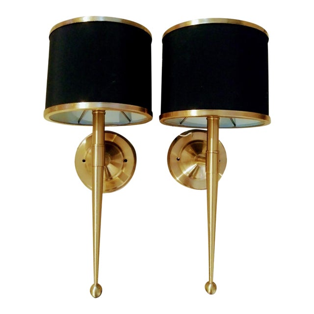 Black and Gold Streamlined Wall Sconce Lights - a Pair For Sale