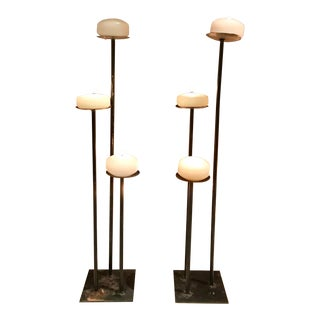 Black Iron Candle Holders - A Pair For Sale