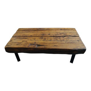 19th Century Rustic Reclaimed Wood Coffee Table For Sale
