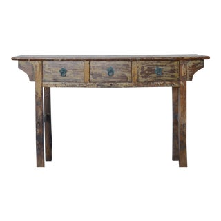 Vintage Rustic Chinese 3 Drawer Console For Sale