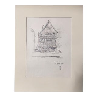 1920s Vintage Walter E. Church Lisieux - Le Grande Rue French Pencil Drawing For Sale