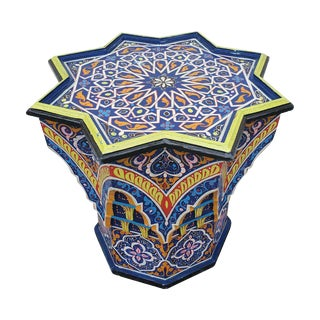Moroccan Sm Ceuta 2 Painted and Carved Star Table, Multi-Color For Sale