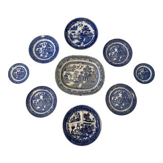 Blue Willow Plate and Platter Wall Display For Sale