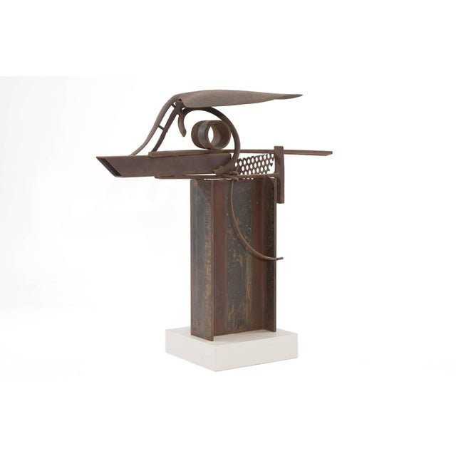 Mid-Century Modern Patinated Steel and Iron Sculpture by Rick Lussier For Sale - Image 3 of 5