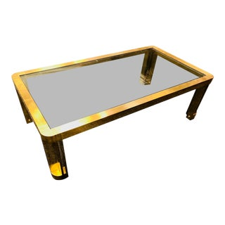 1970s Italian Brass Coffee Table With Great Design For Sale