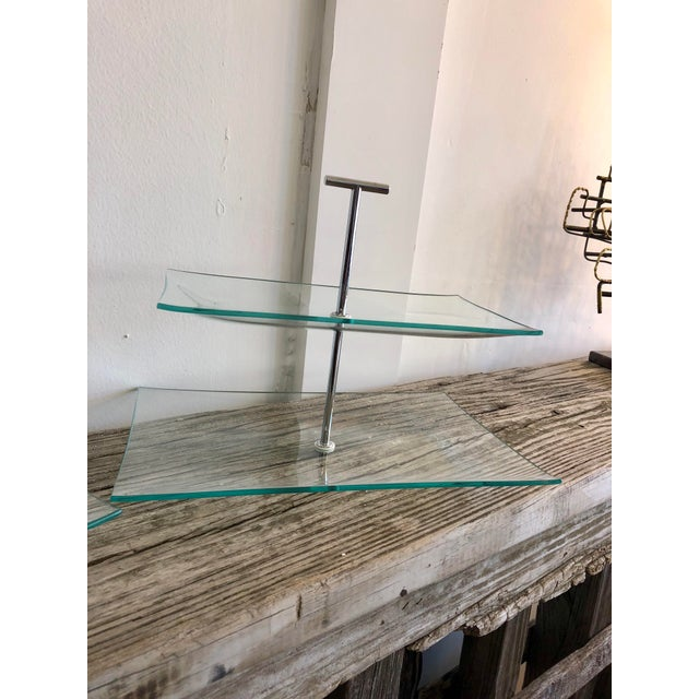 Contemporary Contemporary Two Tiered Glass Serving Trays - a Pair For Sale - Image 3 of 7