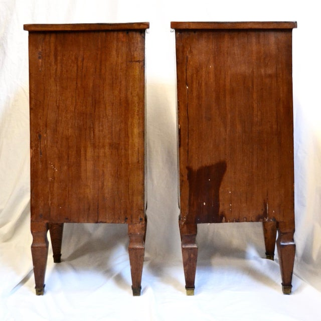 Wood Italian Neoclassical Style Inlaid 19th Century Walnut Side Tables - A Pair For Sale - Image 7 of 8