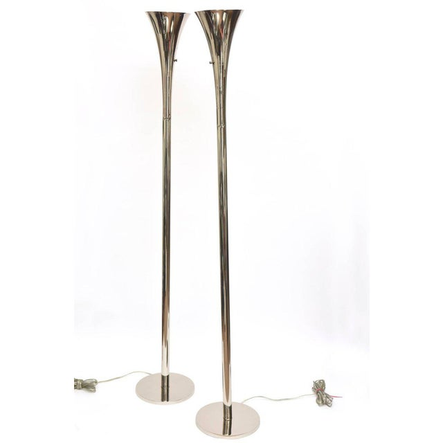 Mid-Century Modern Pair of Midcentury Laurel Nickel Silver Torcheres/ Floor Lamps For Sale - Image 3 of 11