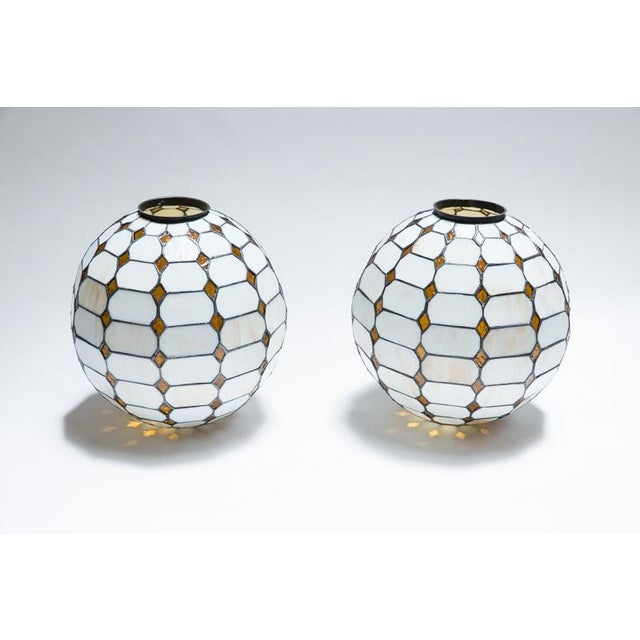 Leaded Stained Glass Globes - a Pair - Image 2 of 7