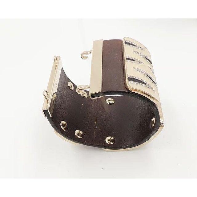 Black Valentino Leather & Enamel Zebra Stripe Rhinestone Cuff Bracelet For Sale - Image 8 of 12