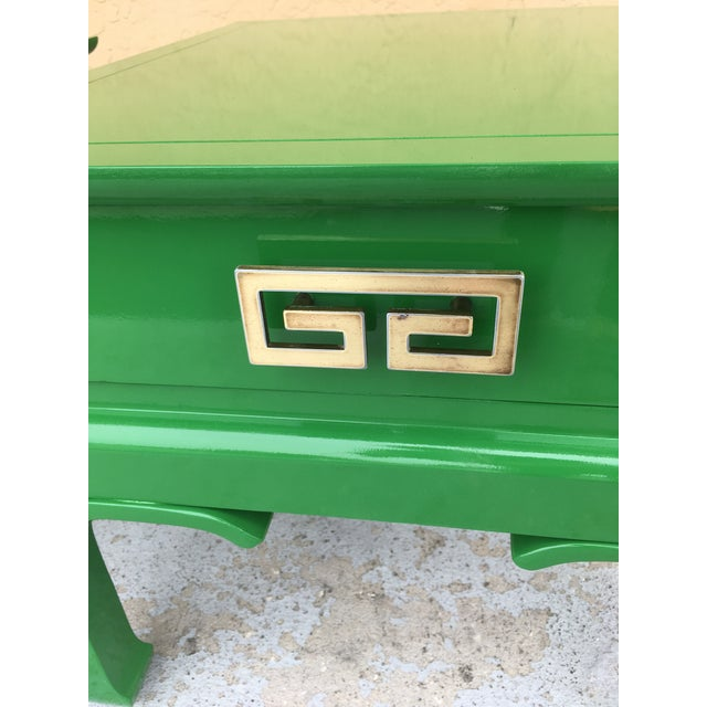 Wood 1960s Asian High Gloss Green Side Tables - a Pair For Sale - Image 7 of 8