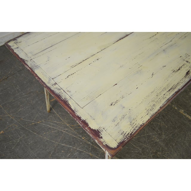 Custom Distressed Antique White Farmhouse Dining Table - Image 4 of 10