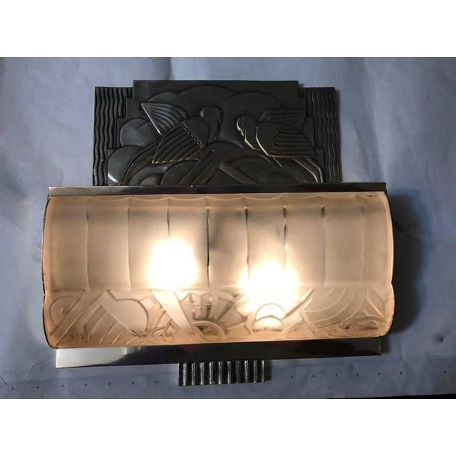 French Art Deco Sconces With Geometric Motif - a Pair For Sale - Image 9 of 9
