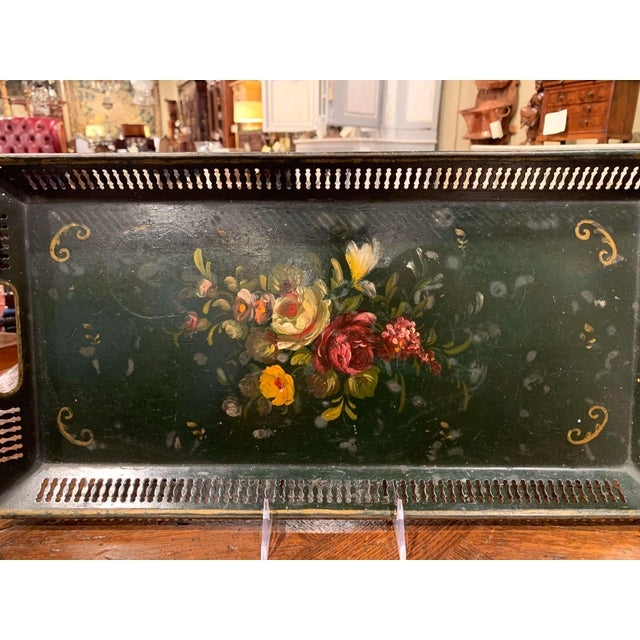 This elegant antique gallery tray was crafted in Normandy, France, circa 1870; rectangular in shape, the colourful tray...