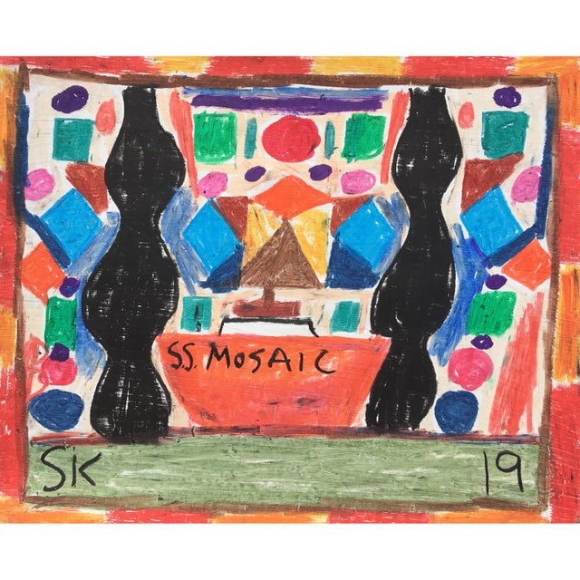 Abstract 'Ss Mosaic' Oil Pastel Drawing by Sean Kratzert For Sale - Image 3 of 3