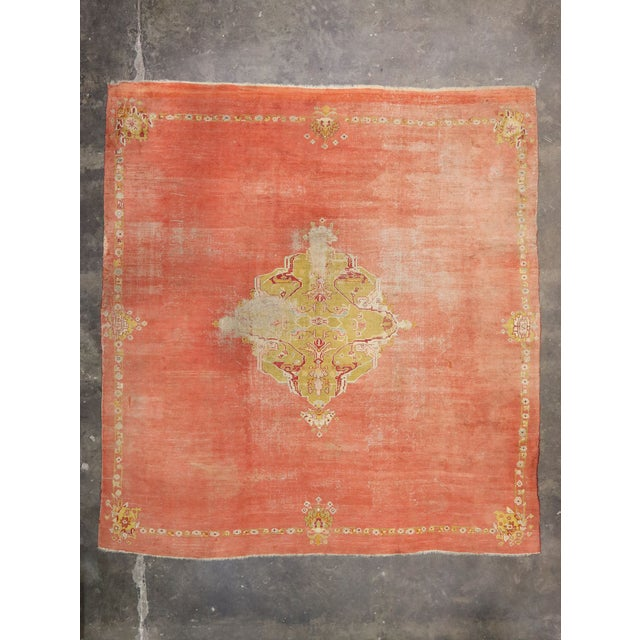 Brick Red Distressed Antique Turkish Oushak Rug - 14'07 X 15'05 For Sale - Image 8 of 10