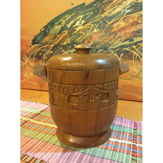 Vintage Carved Wood Ice Bucket Preview